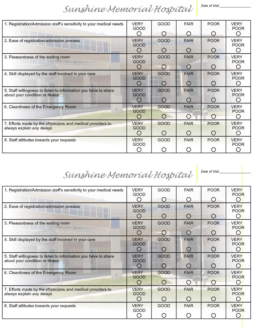 Physician Employee Patient Satisfaction Surveys Sample – Sample Patient Satisfaction Survey